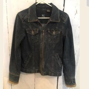 French Cuff Small Zip Up Denim Blue Jean Jacket